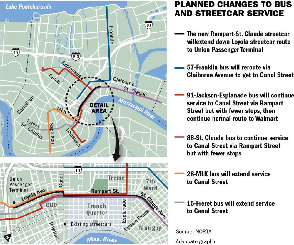new orleans bus map Rta Approves Routes For New North Rampart Streetcar Area Bus new orleans bus map