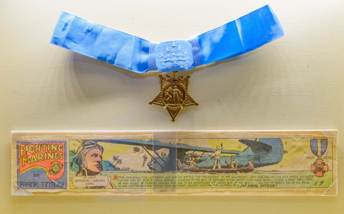 Jefferson DeBlanc Medal of Honor and cartoon