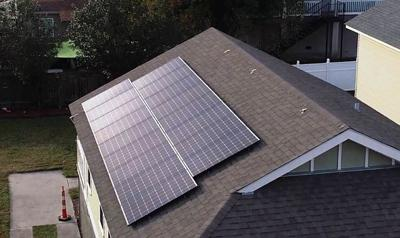 Solar panel atop home, provided by Entergy