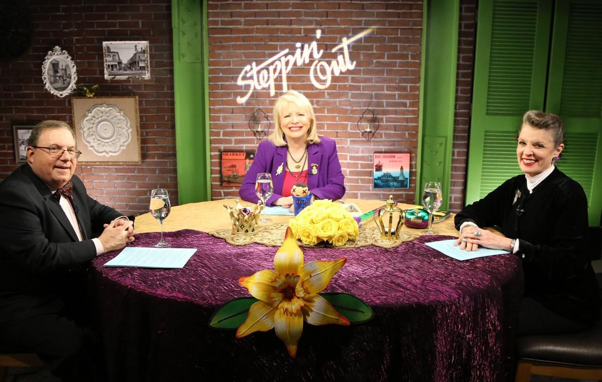Host Peggy Scott Laborde (center) on the set of 'Steppin' Out'