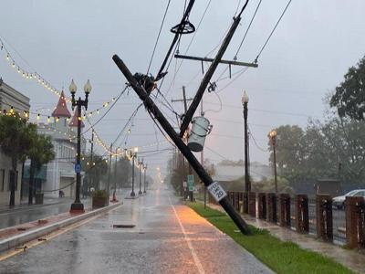 Power pole leaning in Kenner during Hurricane Zeta