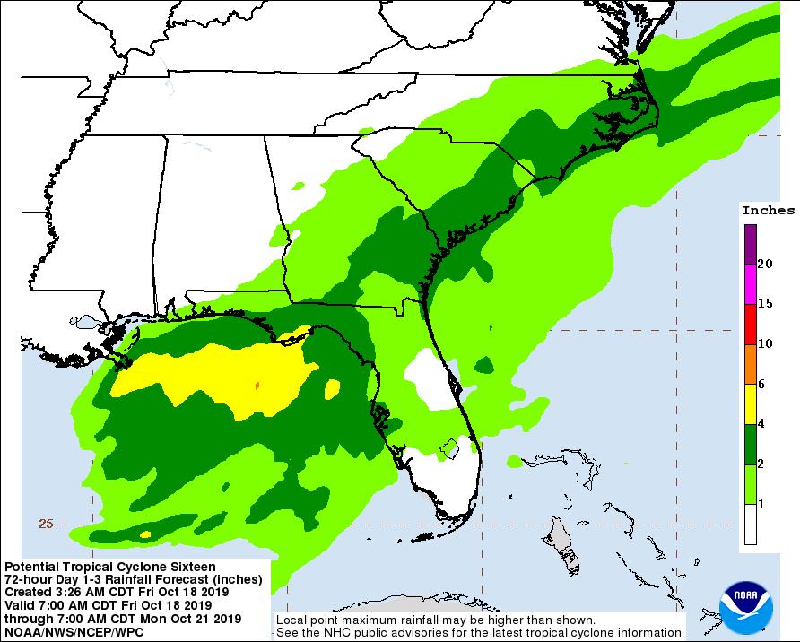 rainfall potential nestor 101919