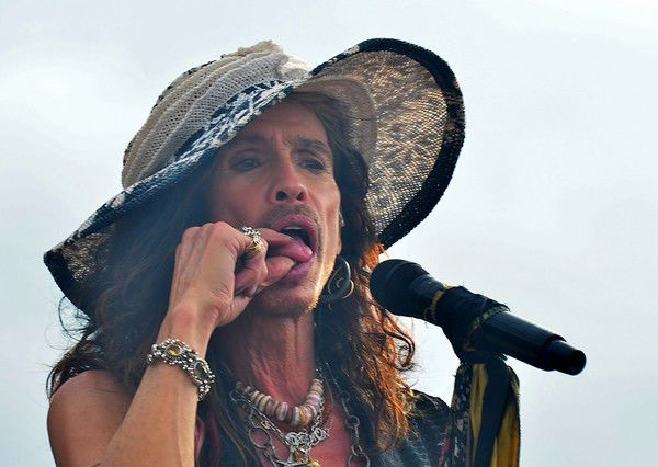 Nutty Steven Tyler borrows a custom-made New Orleans hat at Jazz Fest 2018