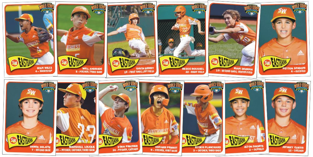 Baseball Cards of the East Bank All-Stars 2019 Little League World Series Champions