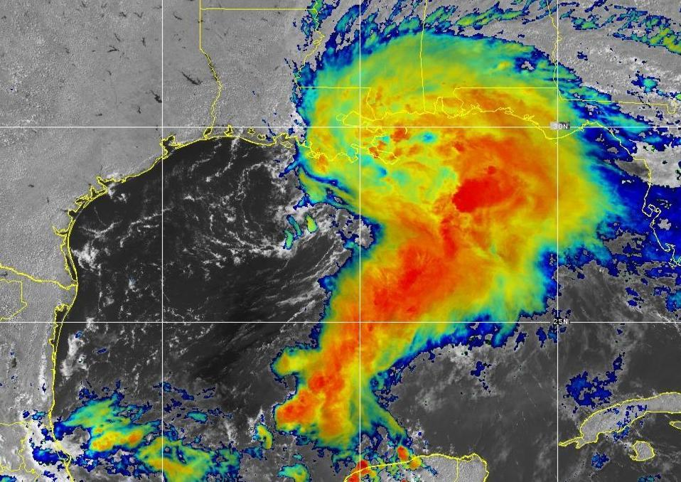 Infrared view of Gulf storm