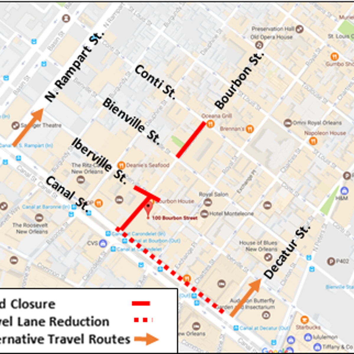 Bourbon Street New Orleans Map One street reopens, another closes for Bourbon Street repairs