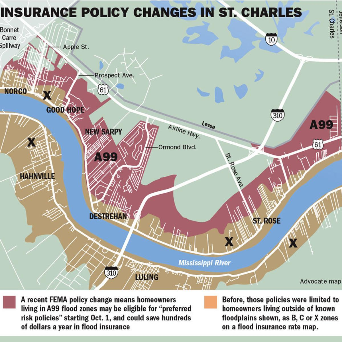 flood map new orleans Thousands In St Charles Parish May Be Eligible For Lower Flood flood map new orleans
