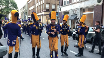 Richard Branson plays drum major with St. Augustine's Marching 100 October 7, 2021