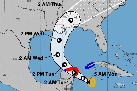 Tropical Storm Zeta rapidly strengthened overnight; landfall in Louisiana expected