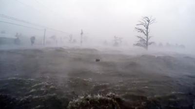 Hurricane Ida's storm surge at Frenier Landing near Laplace on Sunday, August 29, 2021