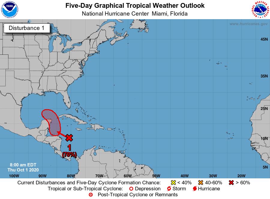 Tropical disturbance Gulf of Mexico 7am Thursday
