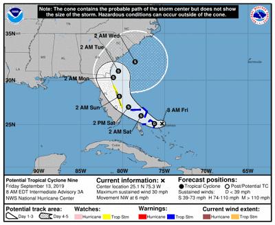 Tropical disturbance humberto 091319 7am track