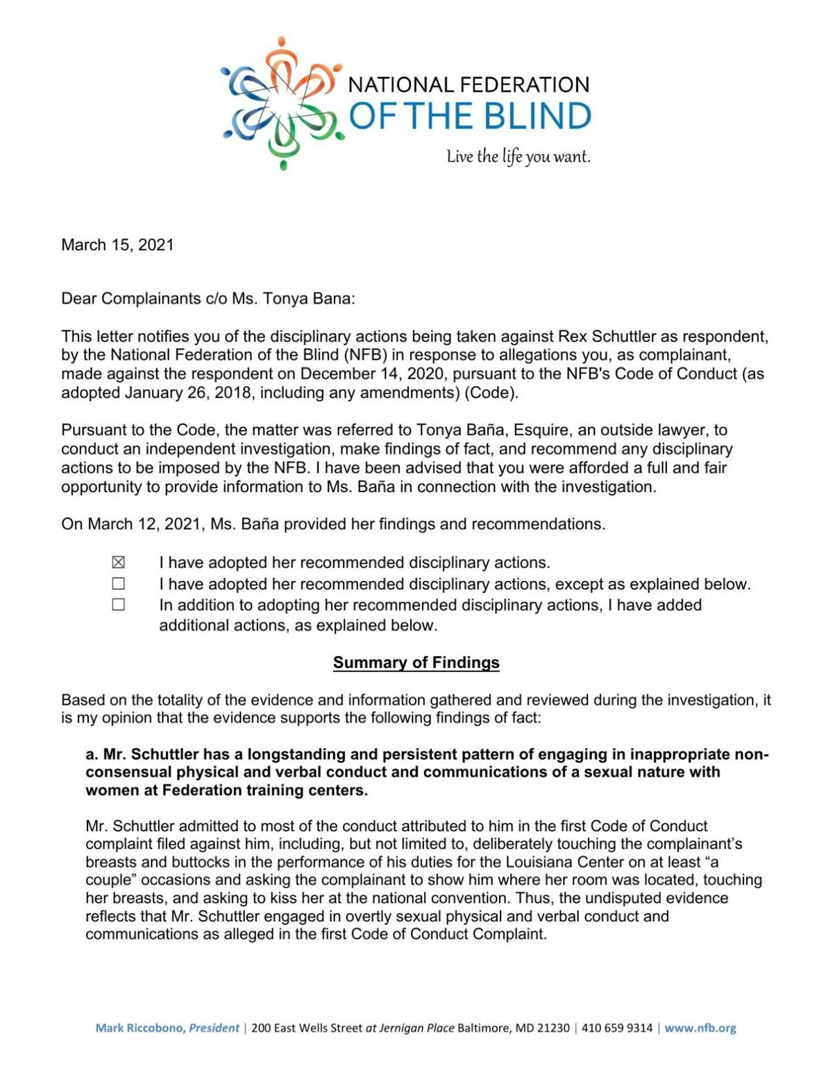 March 2020 National Federation of the Blind letter on sexual assault allegations
