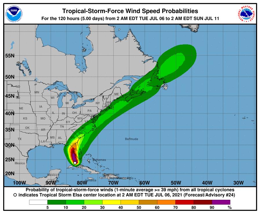 Tropical Storm Elsa winds 7am July 6