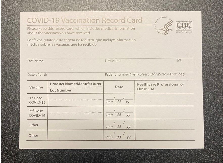 Counterfeit COVID vaccination card