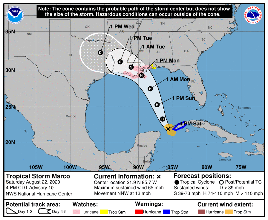 Marco track as of 4 p.m. Saturday