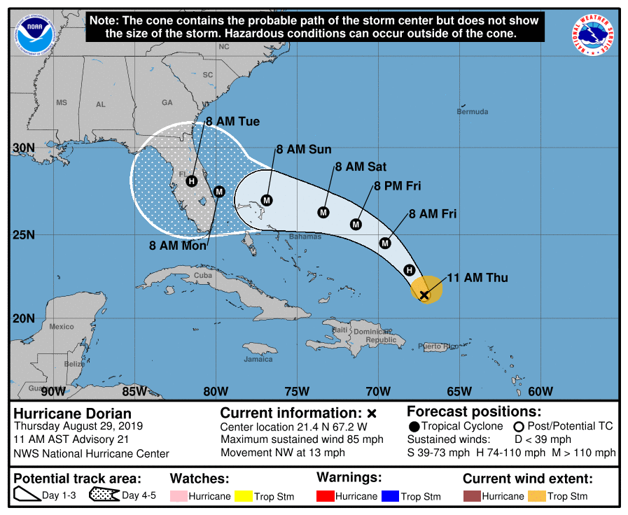 Hurricane Dorian 082919 10am track