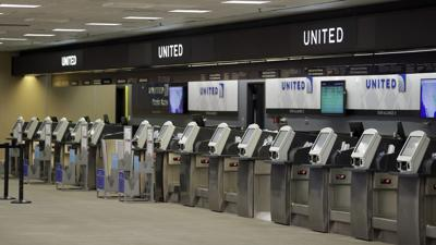 File photo of United Airlines ticket counter