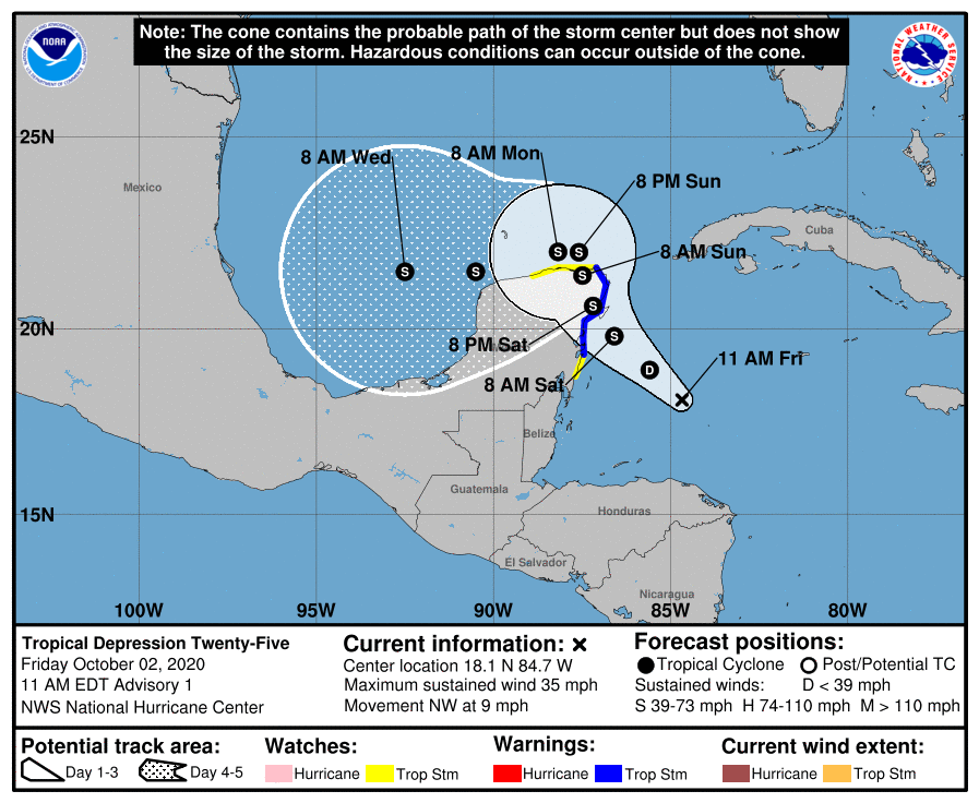 Tropical depression 25 10am track