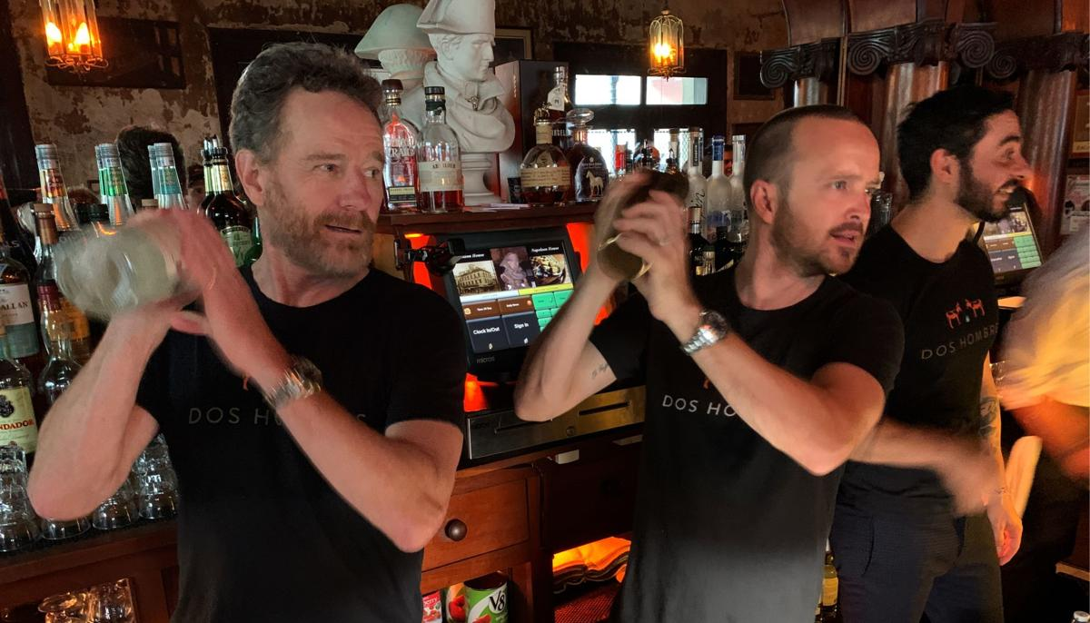 Actors Bryan Cranston  and Aaron Paul promote a new brand of liquor, Dos Hombres Mezcal at the Napoleon House in New Orleans