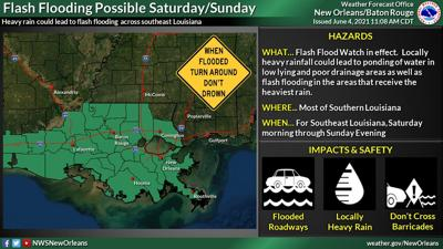 A flash flood watch is in effect through Sunday for south Louisiana