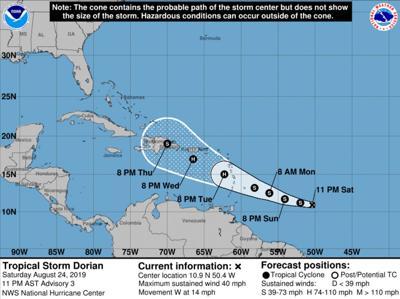 Tropical Storm Dorian forecast track; 10 p.m. Aug. 24, 2019