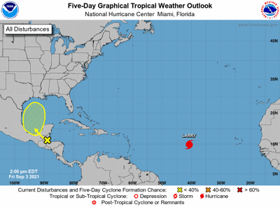 Tropical weather outlook 1pm Sept. 3