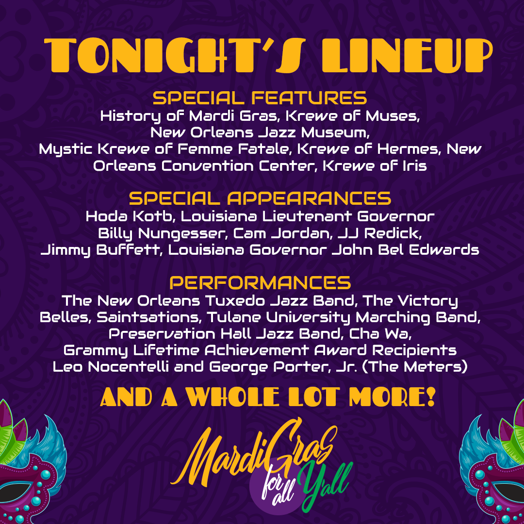 Mardi Gras For All Y'all Friday Lineup