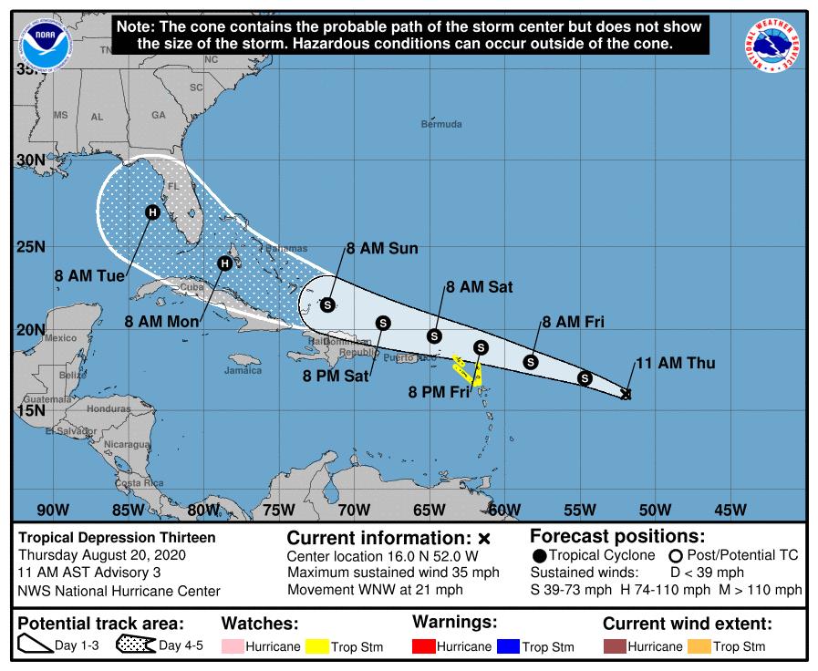 Tropical depression 10 am track