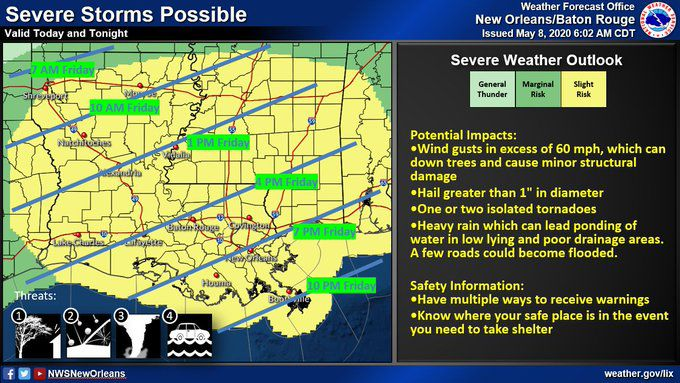 Severe weather threat for southeast Louisiana on May 8