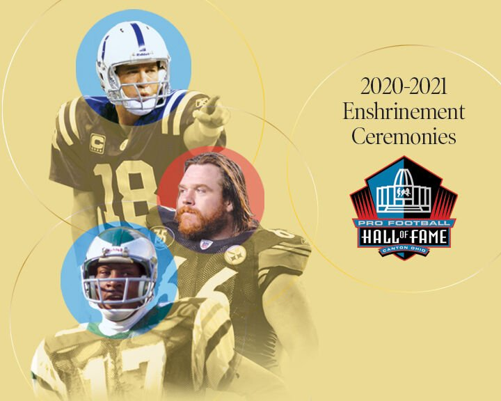 Peyton Manning, Alan Faneca and Harold Carmichael in the Pro Football Hall of Fame.