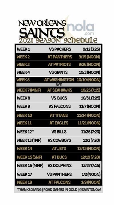 Saints 2021 schedule (phone)