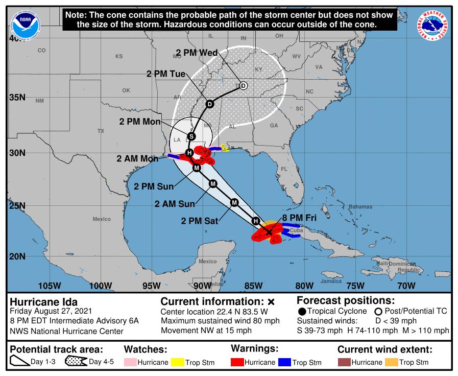 Hurricane Ida forecast path