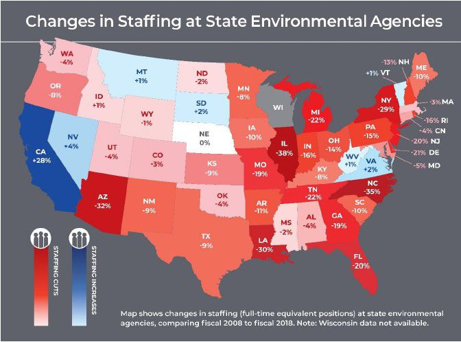 Many states saw environmental agency staff cuts