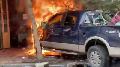 Truck slams into CBD building and catches fire on Thursday, September 16, 2021