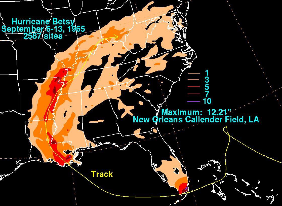 Hurricane Betsy's rainfall