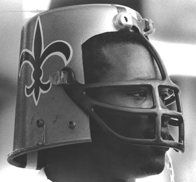 Do you remember the Saints' rookie 'bucket helmet'?