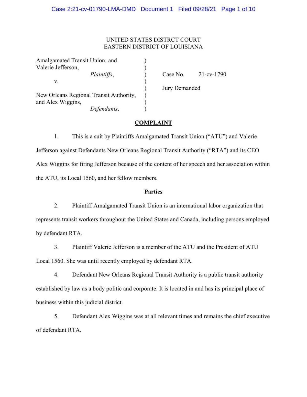 RTA lawsuit