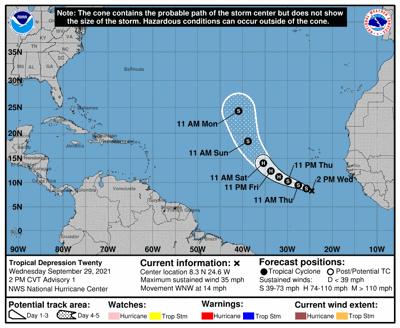 Tropical depression 10am track Sept 29