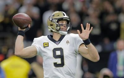 New Orleans Saints quarterback Drew Brees passes during the wild-card playoff game Sunday, Jan. 5, 2020.