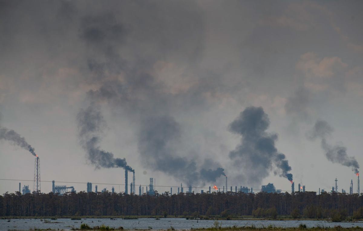 Industrial flaring after Hurricane Ida