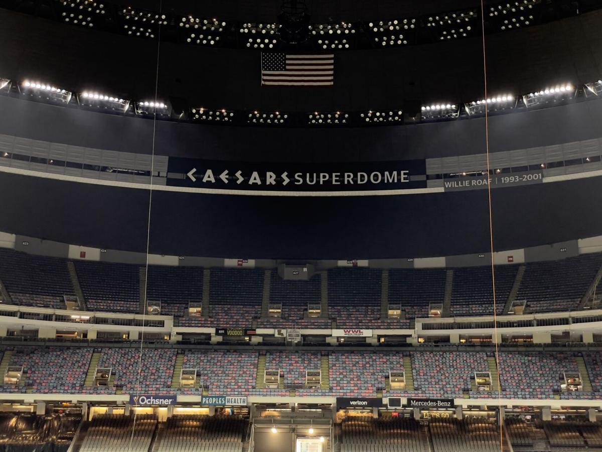 Caesars signage inside Superdome