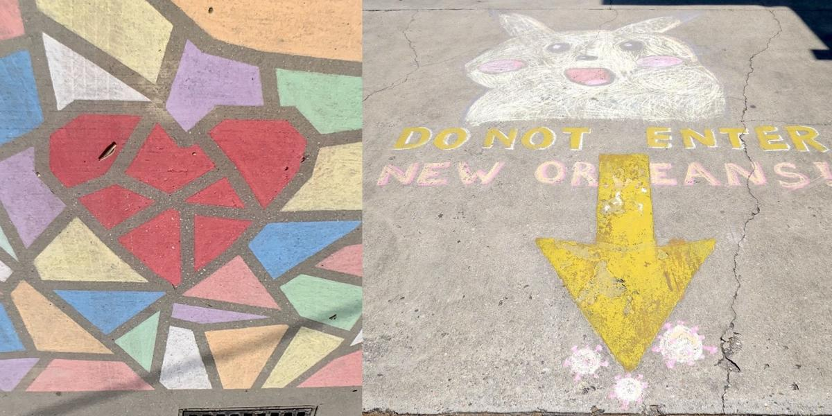 Sidewalk chalk drawings have become a symbol of the coronavirus quarantine 2020