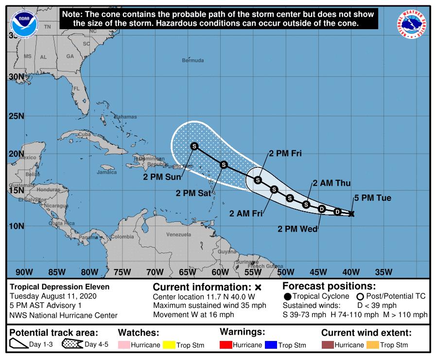Hurricane Center Tropical Depression 11 Forms In Far Atlantic But Is No Threat To Gulf Hurricane Center Nola Com