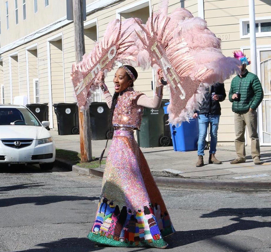 This Mardi Gras Indian's suit features her grandmother's jewelry