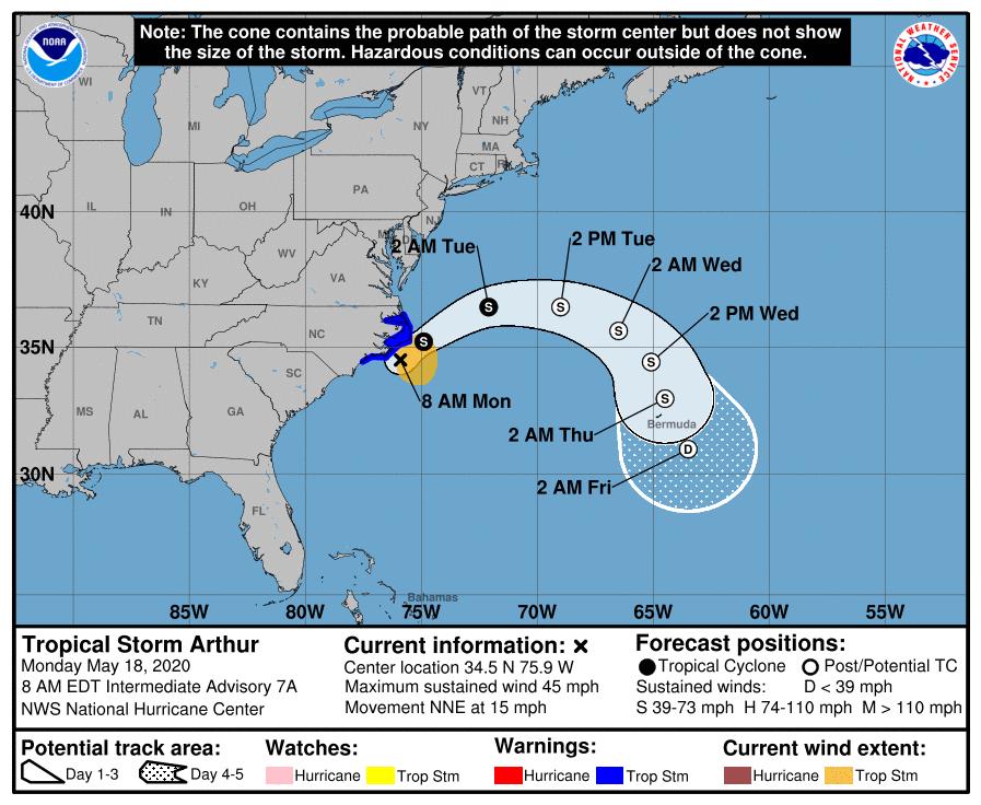 Tropical Storm Arthur track 7 a.m. Monday
