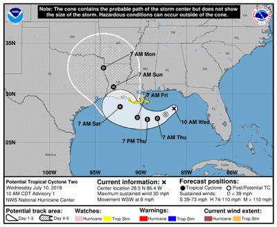 Potential tropical cyclone track July 10, 2019 at 10 a.m.