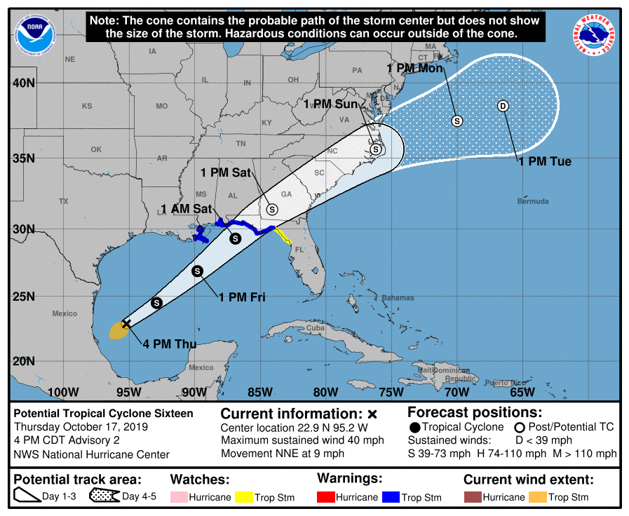 Forecast path for possible Tropical Storm Nestor