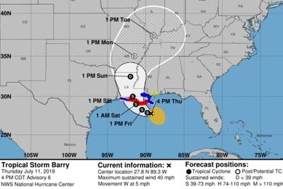 Tropical storm barry 10 am track