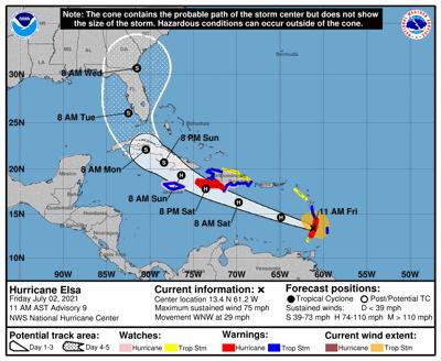 Hurricane Elsa track 10am July 2